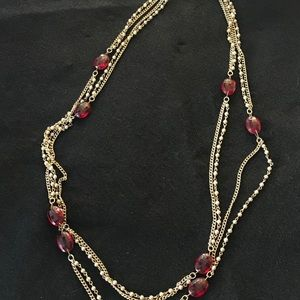 Vintage Coro red and gold long necklace